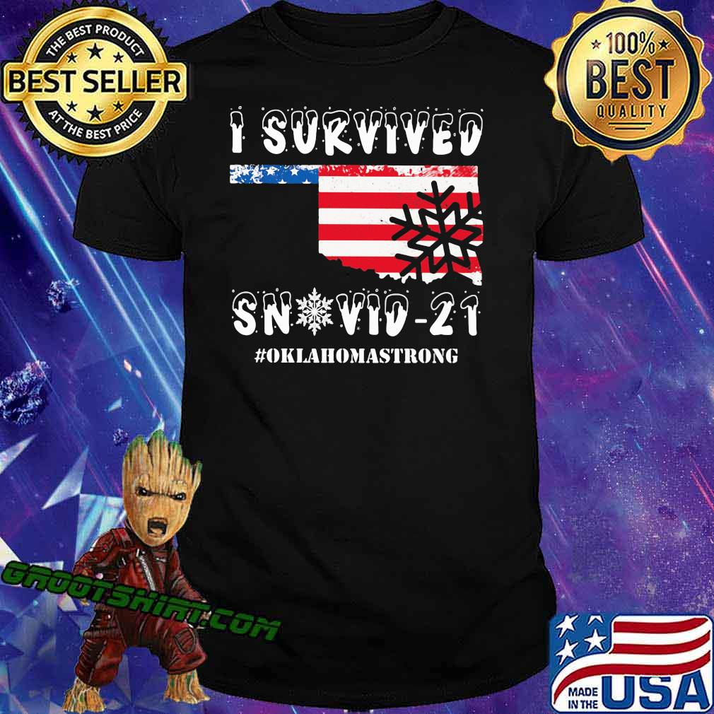 I Survived Snovid 21 Oklahoma Strong American Flag Shirt