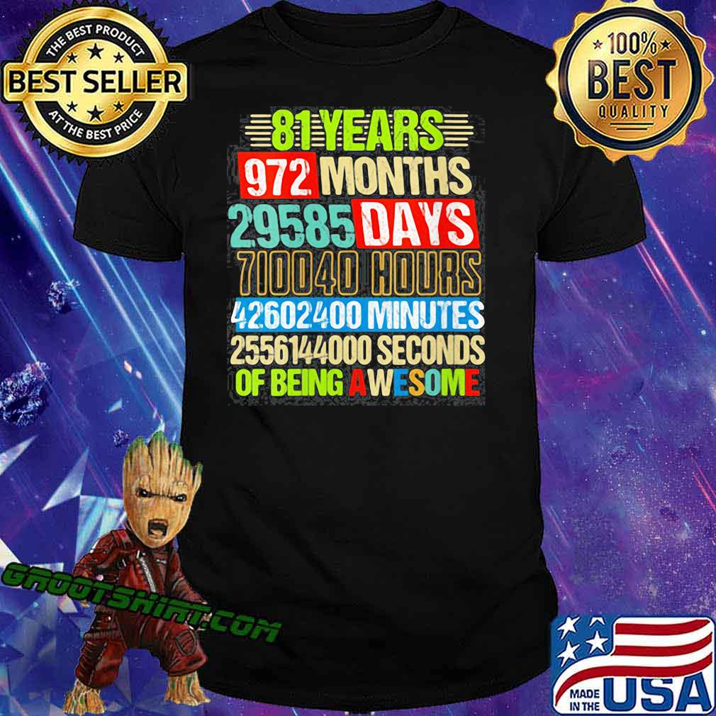 Womens 81st Birthday Countdown 81 Yrs Old Being Awesome shirt