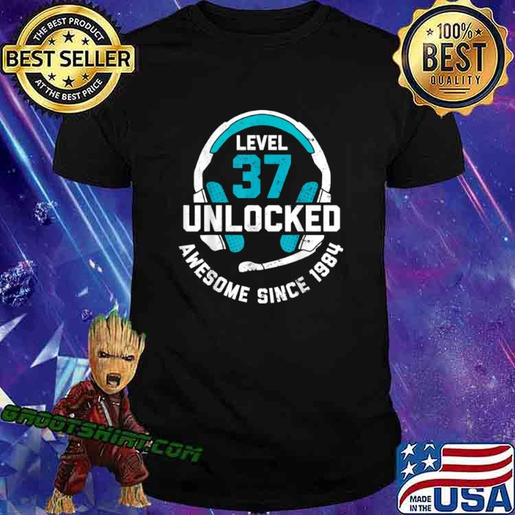 37th Birthday Gift Level 37 Unlocked Awesome Since 1984 Shirt