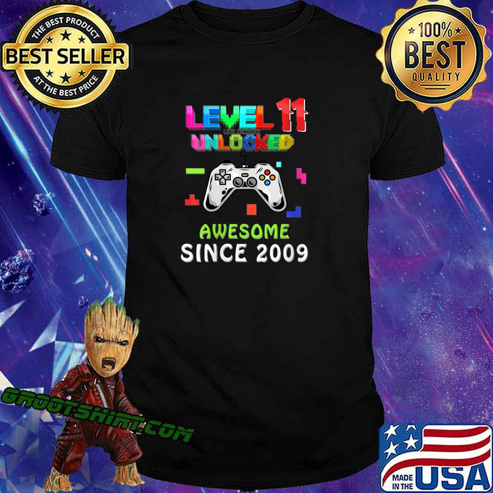 11th birthday Gamer Level 11 Unlocked Awesome Since 2009 Shirt
