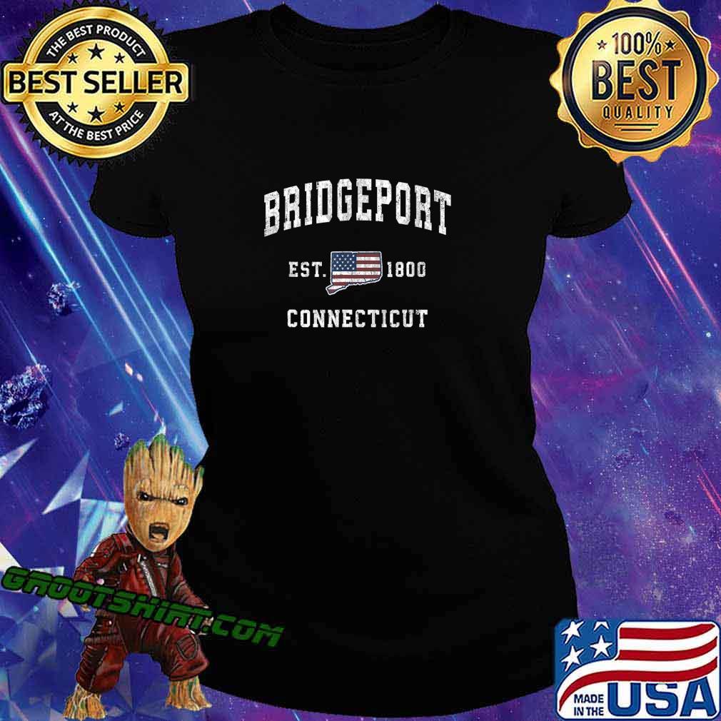 Bridgeport Connecticut CT Vintage American Flag Design T-Shirt Ladiestee