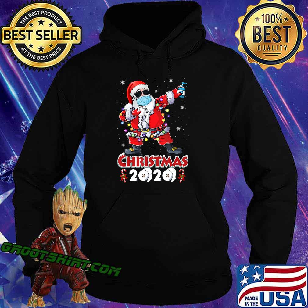 Dabbing Santa Christmas Wear Mask Tree Lights Quarantine T-Shirt Hoodie