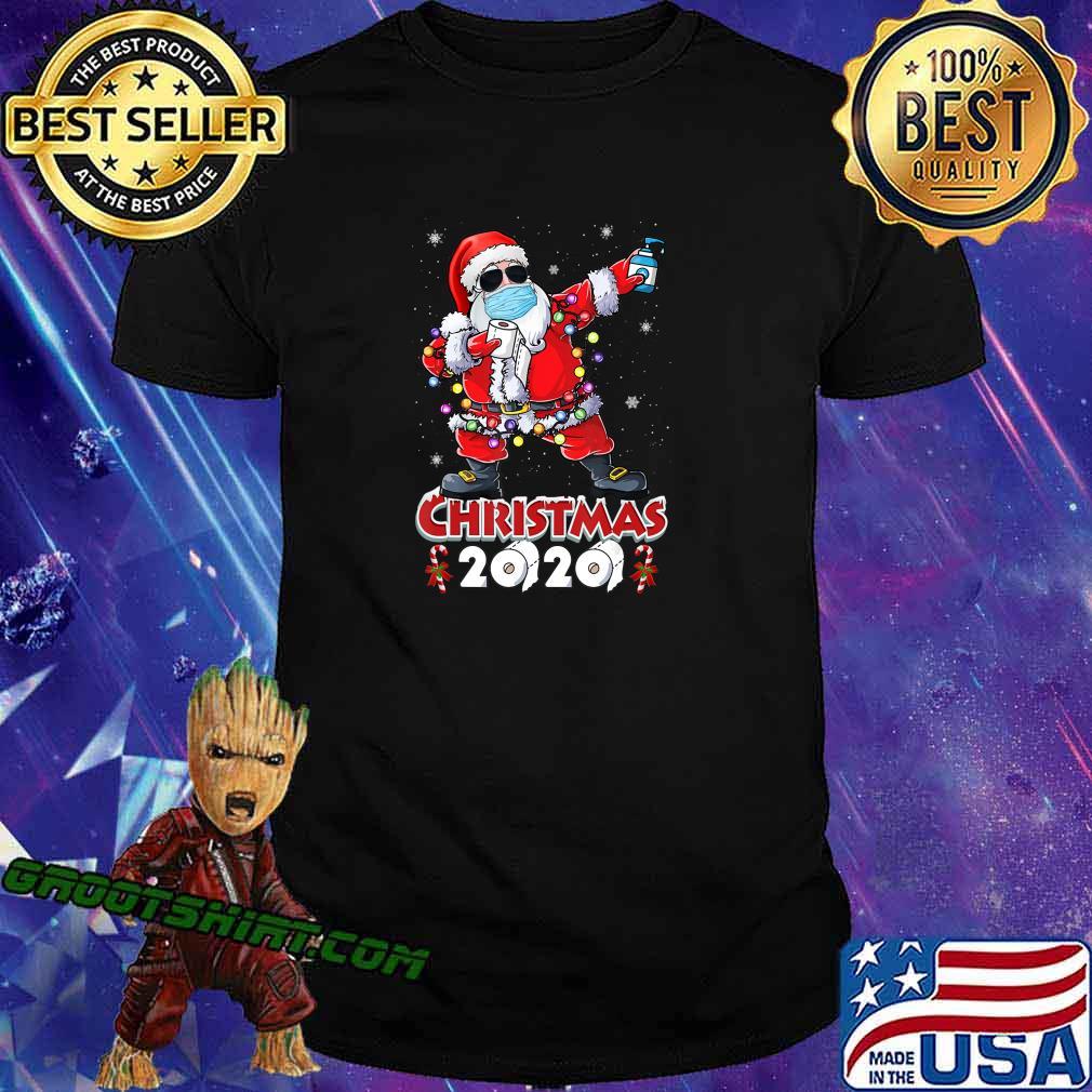 Dabbing Santa Christmas Wear Mask Tree Lights Quarantine T-Shirt