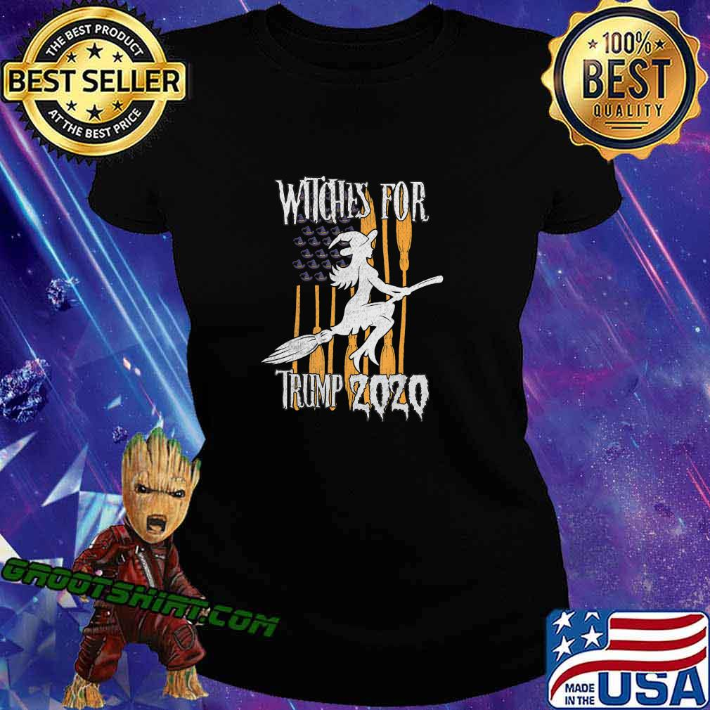 Funny Witches for Trump Halloween US Flag Broomstick Hat T-Shirt Ladiestee