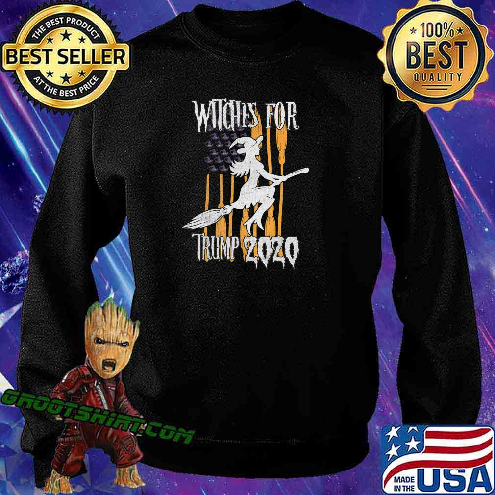 Funny Witches for Trump Halloween US Flag Broomstick Hat T-Shirt Sweatshirt