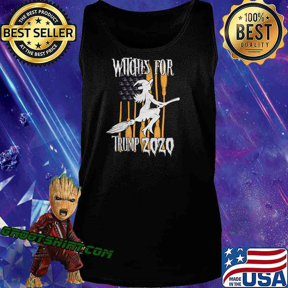 Funny Witches for Trump Halloween US Flag Broomstick Hat T-Shirt Tank Top