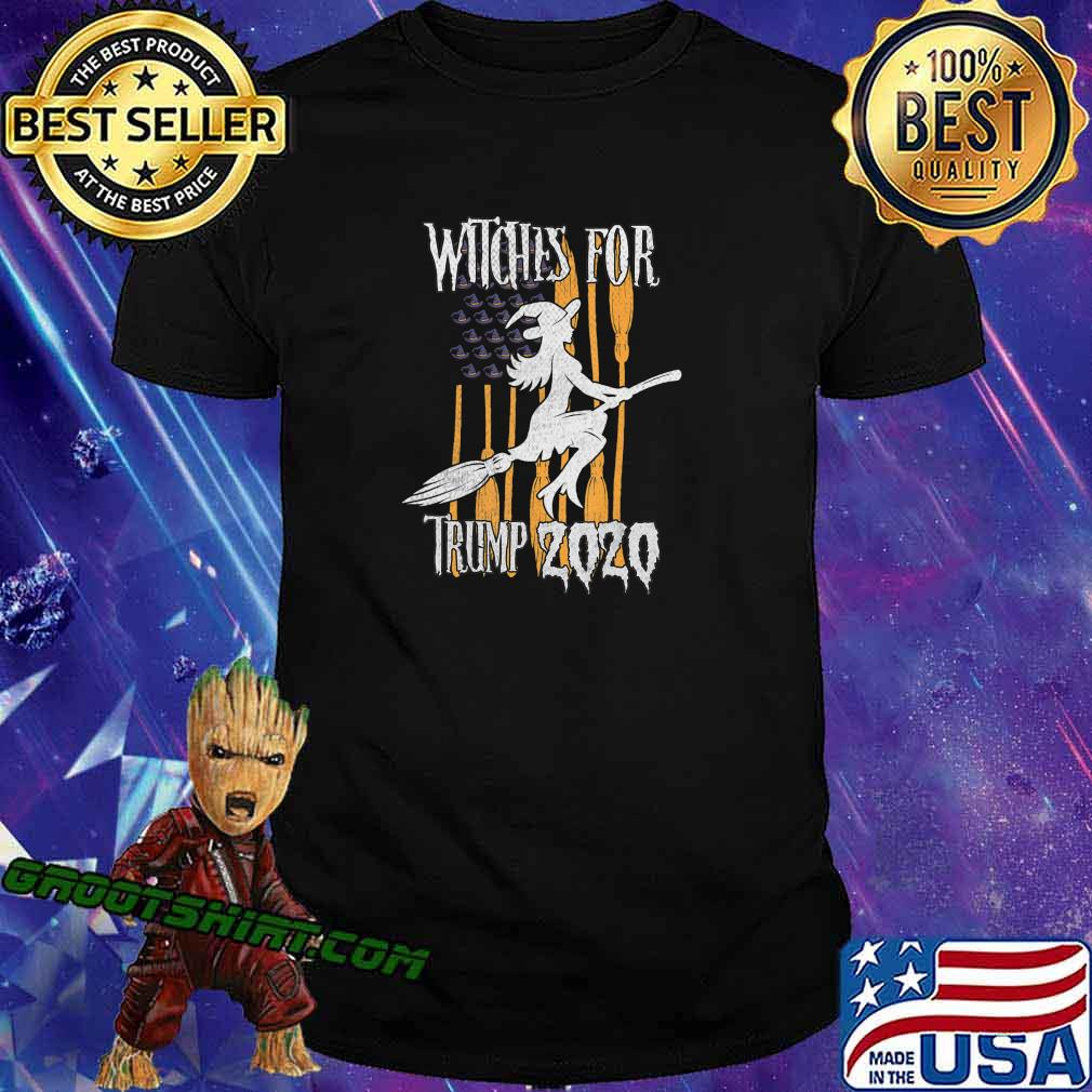 Funny Witches for Trump Halloween US Flag Broomstick Hat T-Shirt