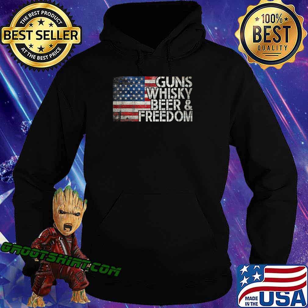 Gun Whiskey Beer and Freedom American Flag Vintage T-Shirt Hoodie