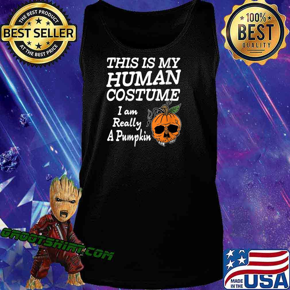 Human Costume Pumpkin Halloween Apparel Design Shirt Tank Top