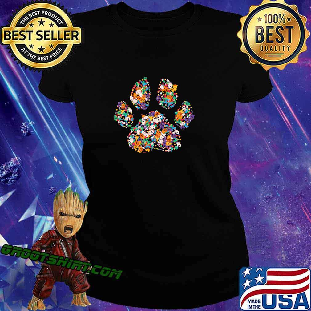 Paw Print Halloween Dog Candy Pumpkin Ghost Gift Women Girls T-Shirt Ladiestee