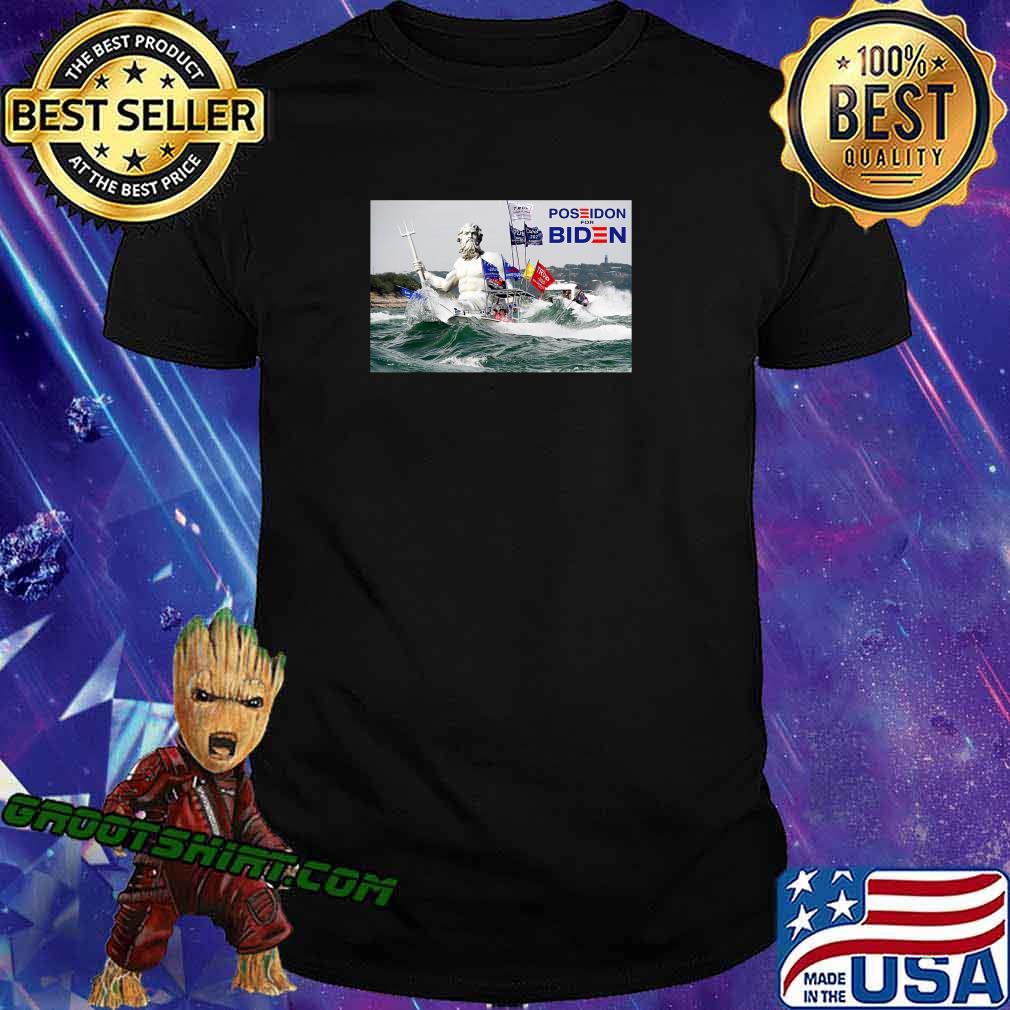 Poseidon For Biden Funny Anti Trump Rally Sinking Boats T-Shirt