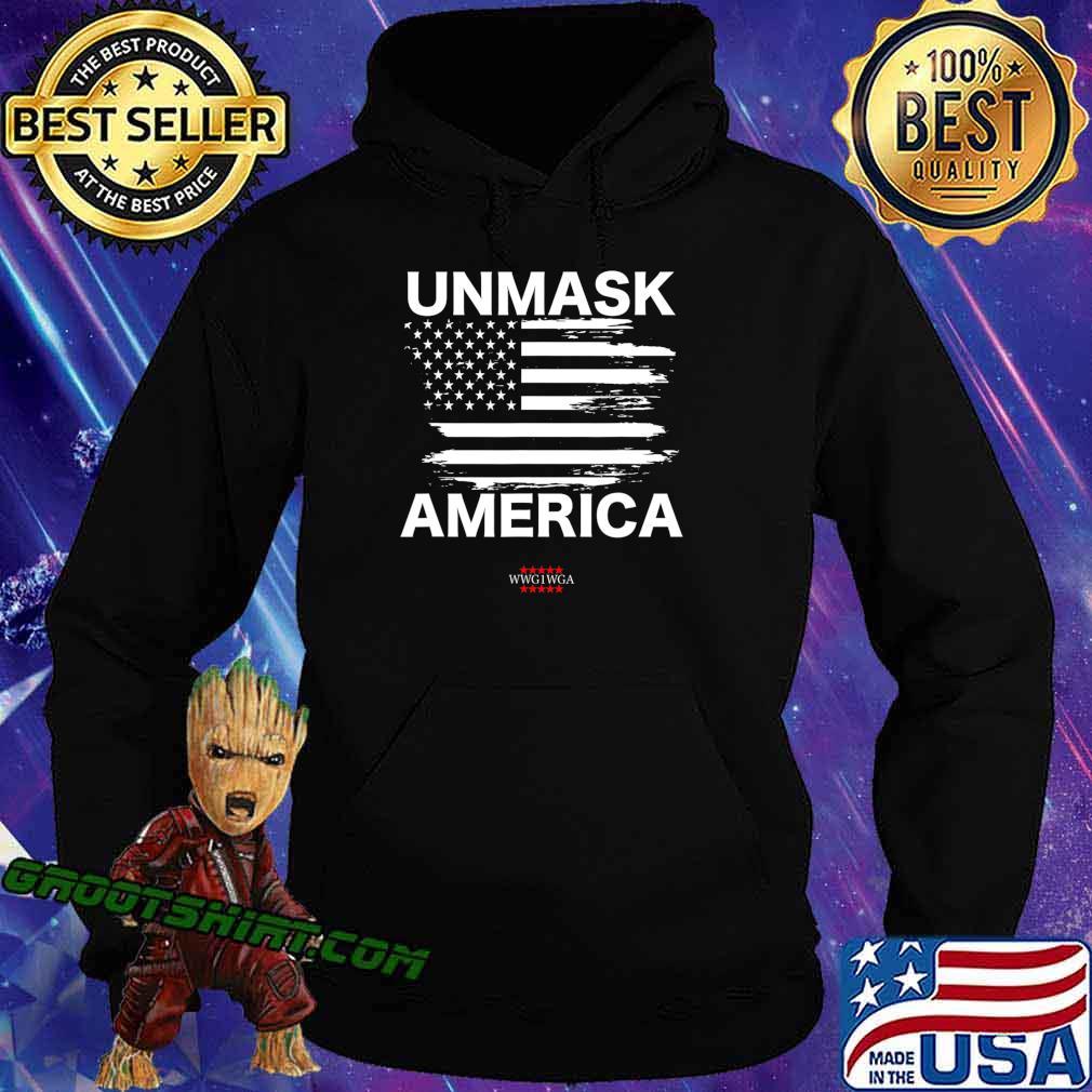 Qanon Unmask America, Patriotic Anti Mask WWG1WGA USA Flag T-Shirt Hoodie