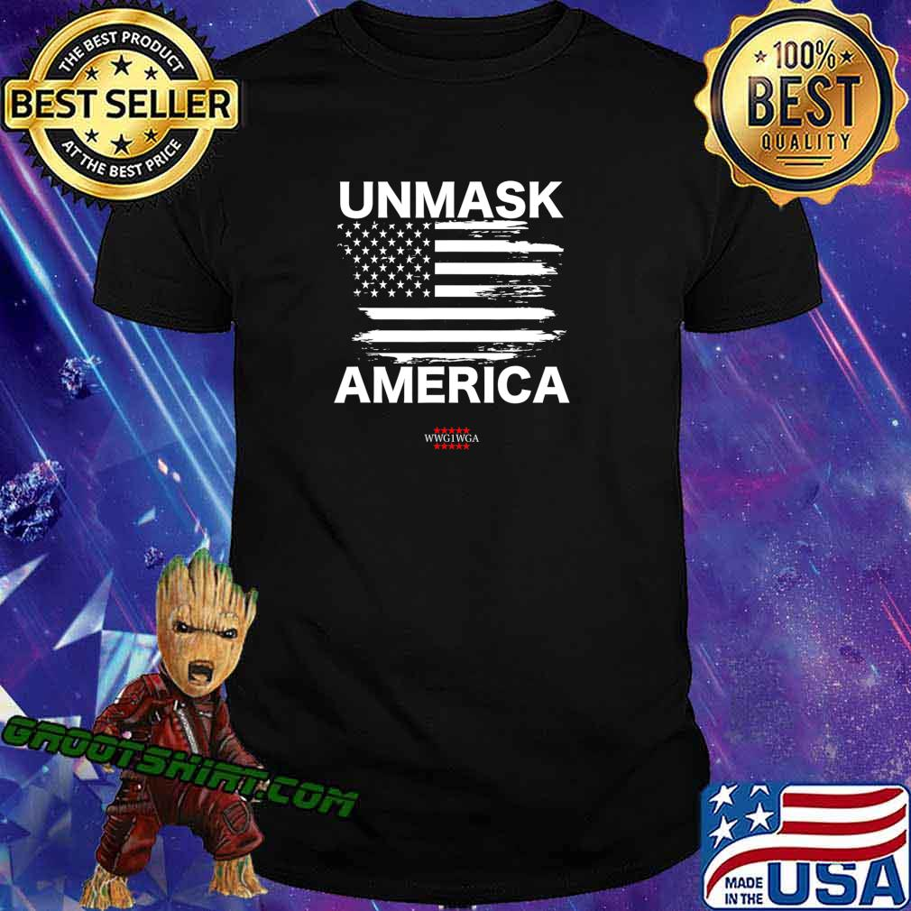 Qanon Unmask America, Patriotic Anti Mask WWG1WGA USA Flag T-Shirt