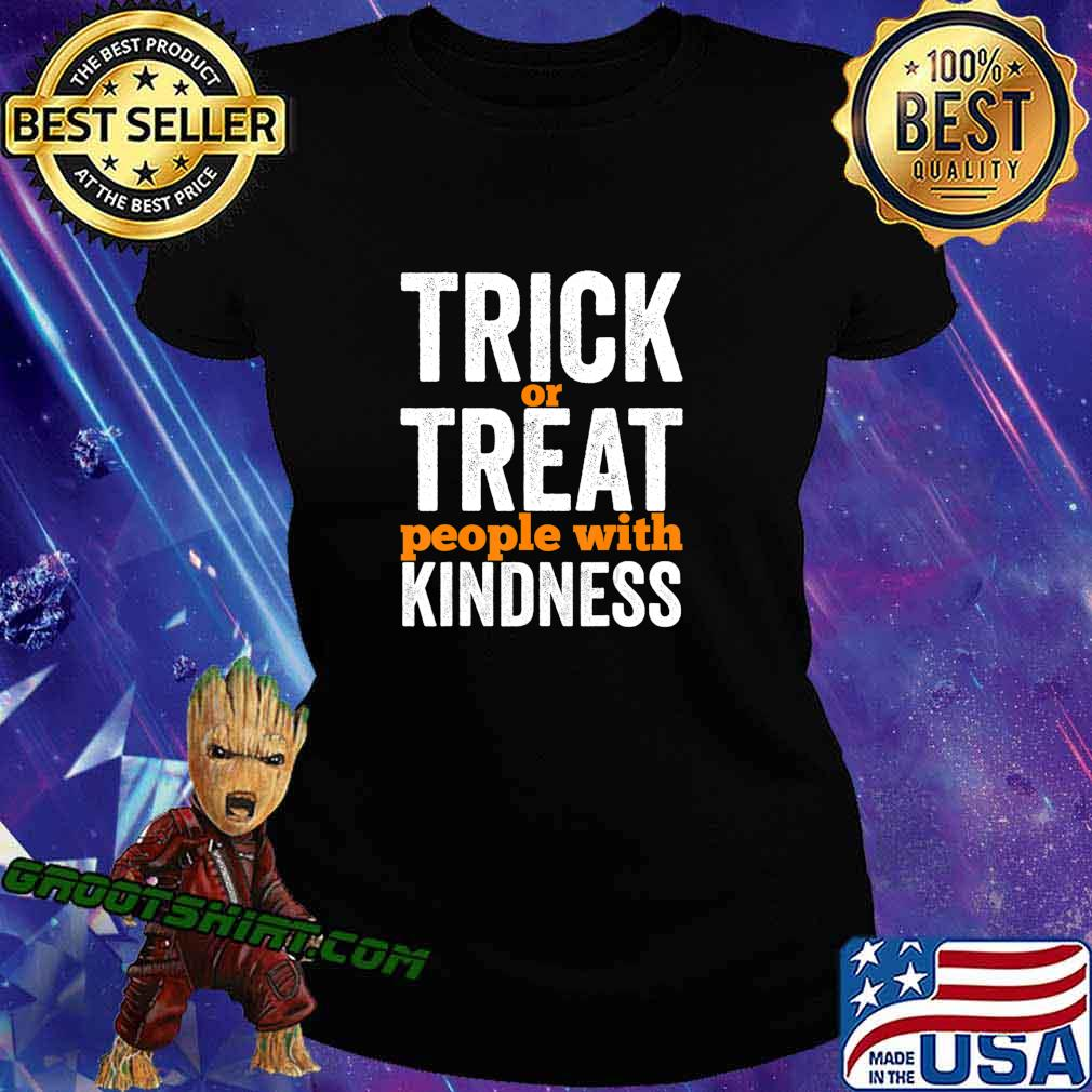 Trick Or Treat People With Kindness Halloween Teacher T-Shirt Ladiestee