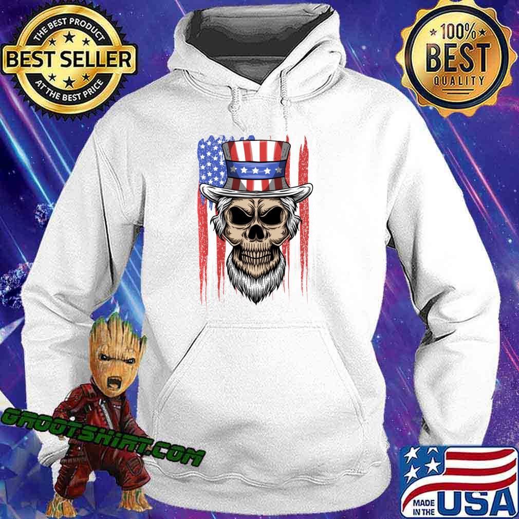 Uncle Skull 4th of July American Flag Patriotic Skull Sam Shirt Hoodie
