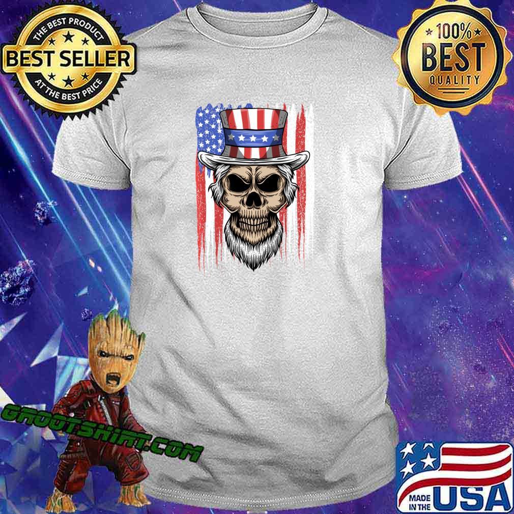 Uncle Skull 4th of July American Flag Patriotic Skull Sam Shirt
