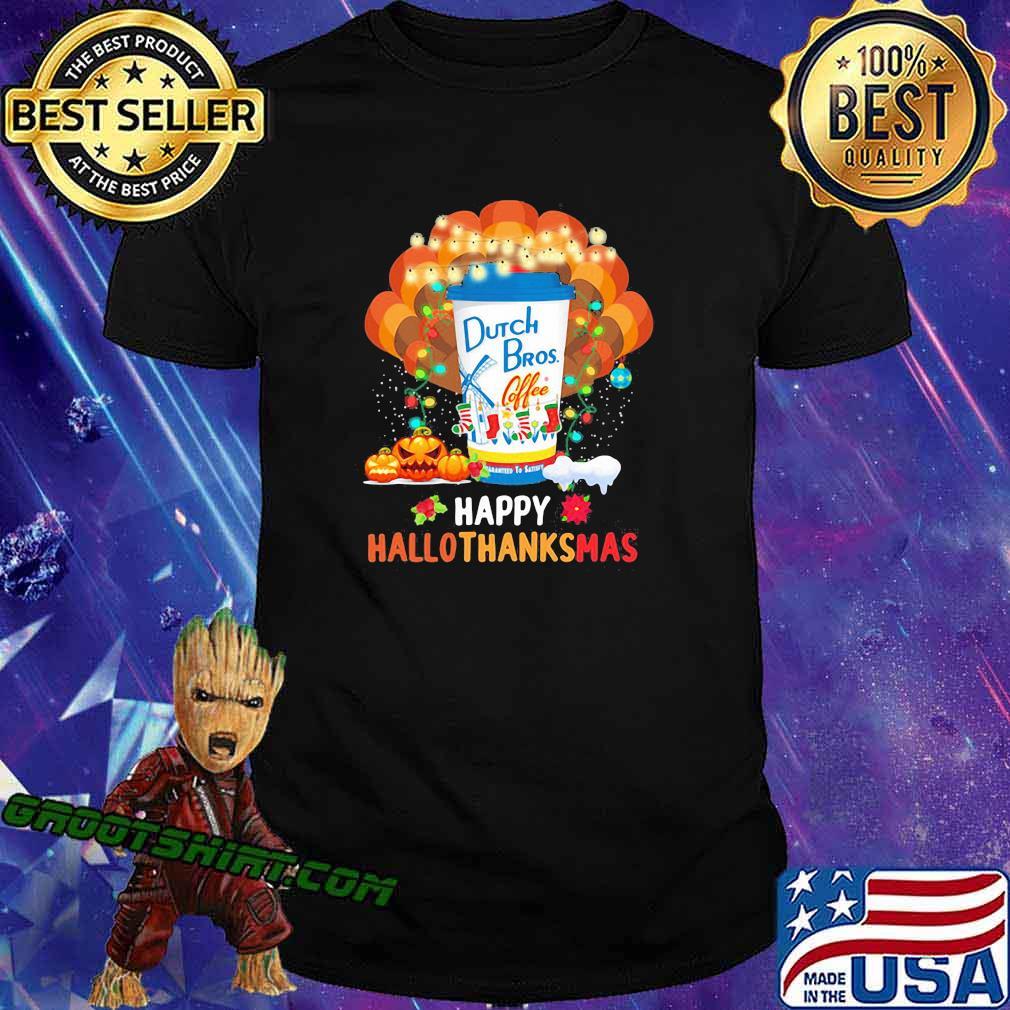 Turkey dutch bros coffee happy hallothanksmas halloween thanksgiving christmas shirt