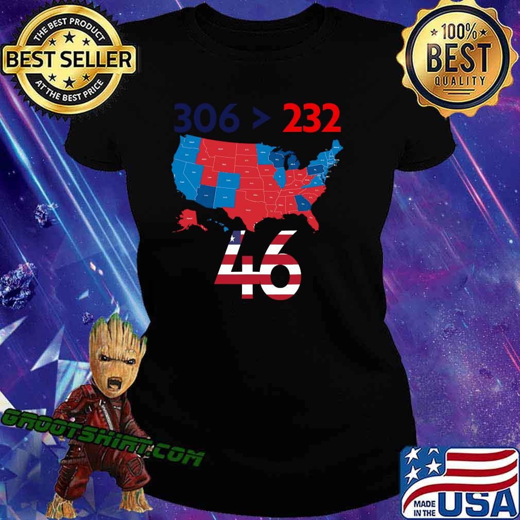 306 232 = 46 American Flag Maps Election Shirt Ladiestee