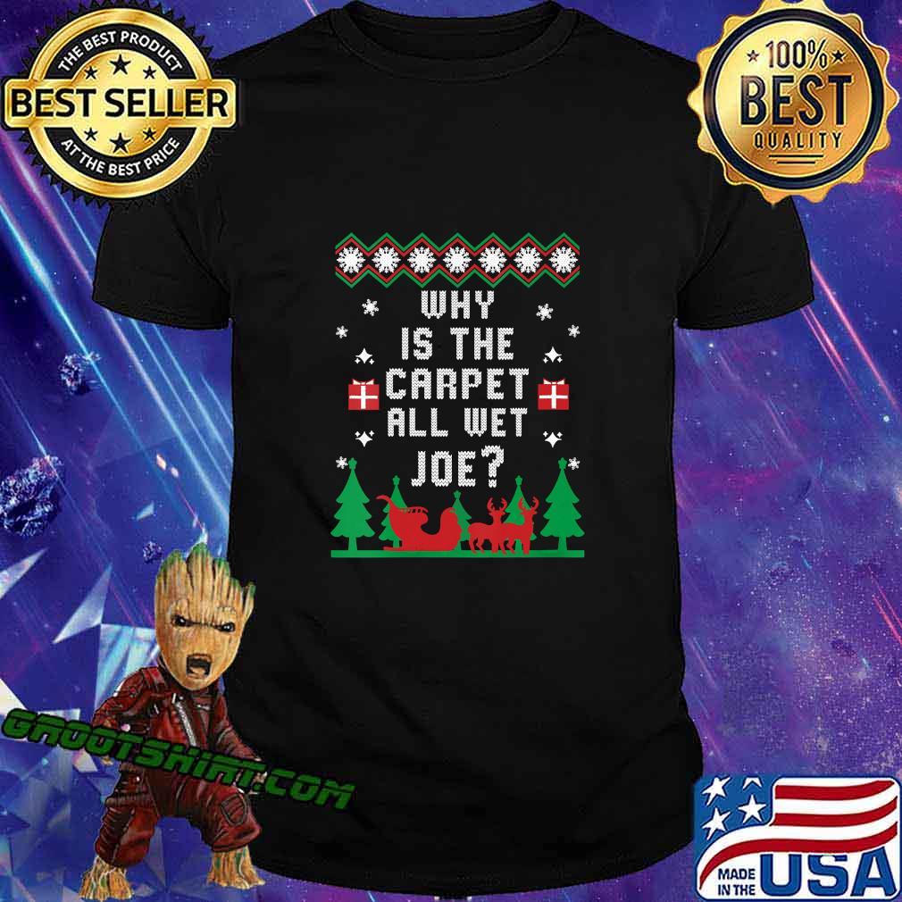 Why Is The Carpet All Wet Joe Trump Biden Matching Ugly Christmas Shirt